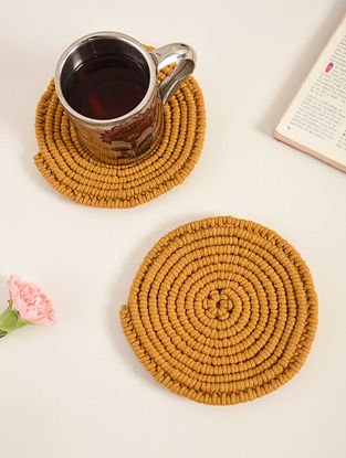 Mustard Yellow Cotton Classic Hand-Knotted Trivets (Dia-6in) (Set of 2)