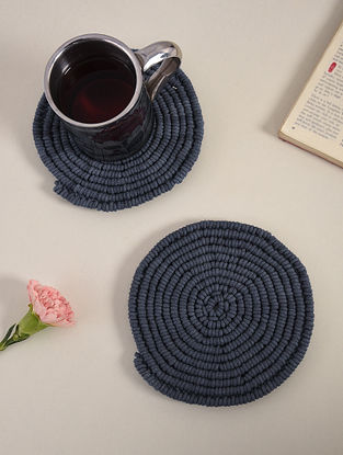 Dark Grey Cotton Classic Hand-Knotted Trivets (Dia-6in) (Set of 2)