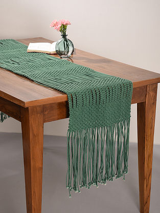 Green Cotton Floating Dashes Hand-Knotted Table Runner (L-64in, W-14in)