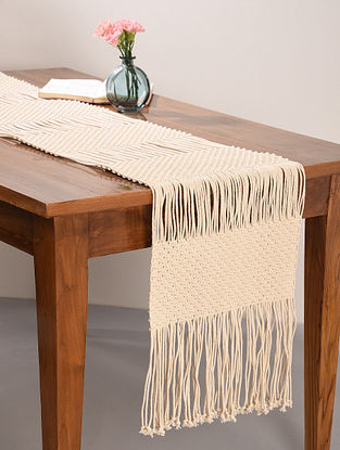 Ivory White Cotton Classic Hand-Knotted Table Runner (L-64in, W-14in)