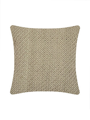 Ecru Cotton Jewel Hand-Knotted Cushion Cover (L-15.5in, W-15.5in)