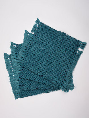 Indigo Blue Cotton Jewel Hand-Knotted Placemat (L-13.5in, W-13.5in) (Set of 4)
