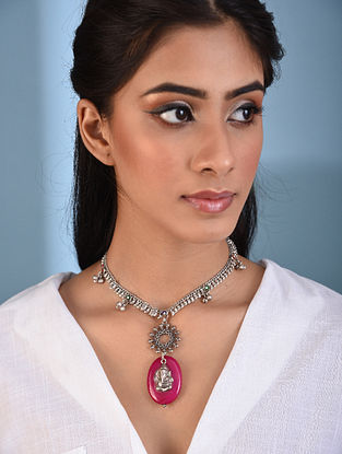 Pink Tribal Silver Necklace with Onyx
