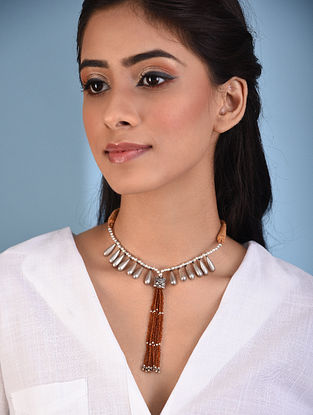 Rust Tribal Silver Necklace