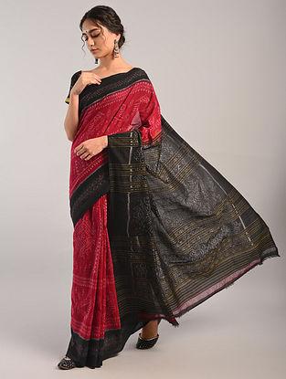 Red Handloom Sambalpuri Ikat Cotton Saree