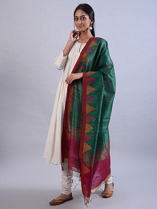 Green Jamdani Handwoven Silk  Dupatta