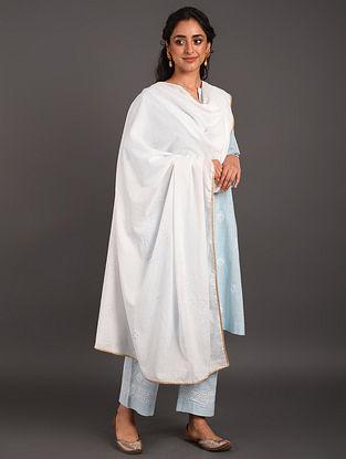 White Mul Cotton Mukaish Embroidered Dupatta