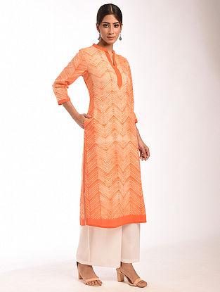 Orange Shibori Cotton Kurta