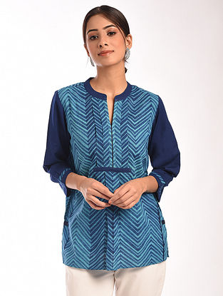 Turquoise Teal Shibori Cotton Top