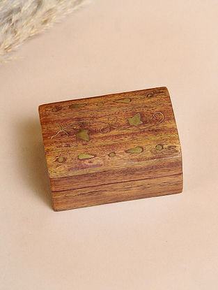 Brown Handcrafted Sheesham Wooden Box With Brass Inlay(L-3in, W-2in, H-1.5in)
