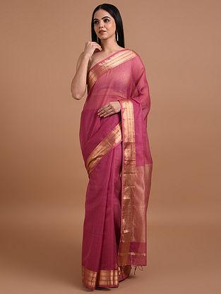 Purple Handloom Maheshwari Silk Cotton Saree