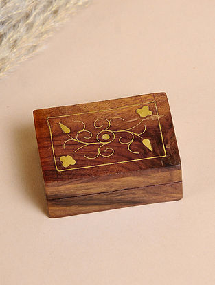 Brown Handcrafted Sheesham Wooden Box With Brass Inlay(L-3in, W-2in, H-1.2in)