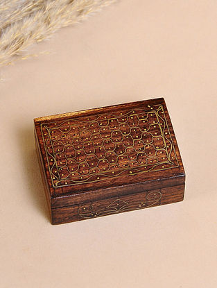 Brown Handcrafted Sheesham Wooden Box With Brass Inlay(L-2.7in, W-2in, H-1in)