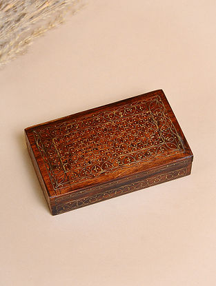 Brown Handcrafted Sheesham Wooden Box With Brass Inlay (L-5in, W-3in, H-1in)