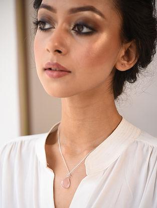 Classic Silver Necklace with Rose Quartz