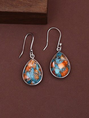 Classic Silver Earrings with Oyster Copper Turquoise