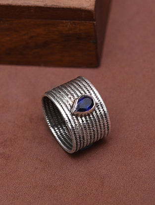 Classic Silver Ring with Sapphire (Size: 14)