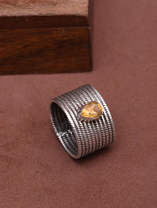 Classic Silver Ring with Citrine (Size: 14)