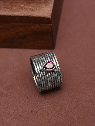 Classic Silver Ring with Pink Quartz (Size:14)