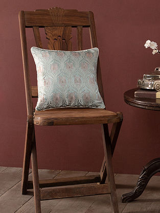 Clio Grey and Pink Silk and Viscose Cushion Cover (L - 11.5in, W - 11.5in)