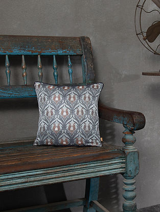 Clio Grey Silk and Viscose Cushion Cover (L - 11.5in, W - 11.5in)