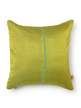 Lime Green Silk and Cotton Cushion Cover (L - 11.5in, W - 11.5in)