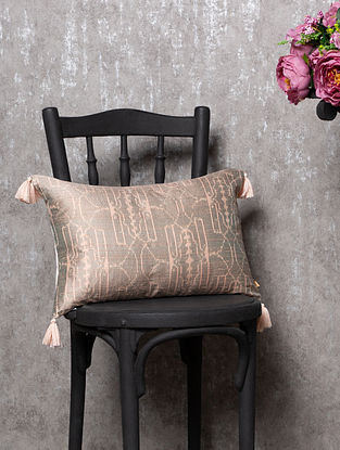 Marise Grey and Pink Raw Silk Cushion Cover (L - 20in, W - 12.5in)