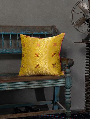 Daria Yellow Silk Cushion Cover (L - 18in, W - 18in)