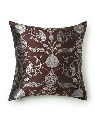 Sinous Silver and Brown Silk and Zari Work Cushion Cover (L - 18in, W - 18in)