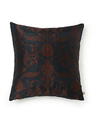 Sinous Black and Brown Silk Cushion Cover (L - 17.5in, W - 17.5in)