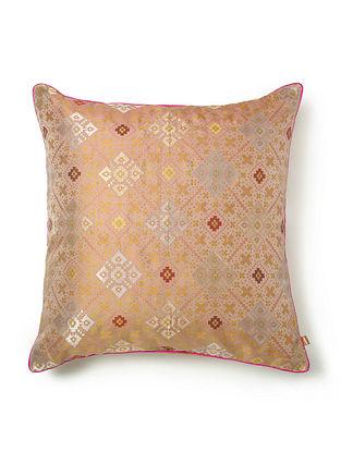 Jiro Peach Silk and Zari Work Cushion Cover (L - 18in, W - 18in)