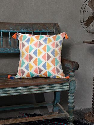 Mariko Multicolored Silk and Cotton Cushion Cover (L - 18in, W - 18in)