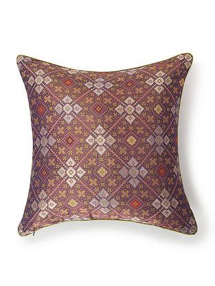 Jiro Multicolored Silk and Zari Work Cushion Cover (L - 18in, W - 18in)