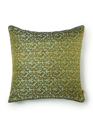 Keitaro Green and Blue Silk Cushion Cover (L - 16in, W - 16in)