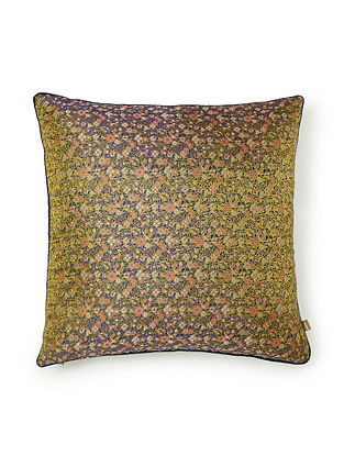 Keitaro Lime Green and Pink Silk Cushion Cover (L - 16in, W - 16in)