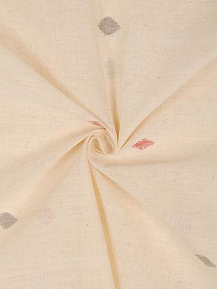White Handloom Handspun Natural Dyed  Jamdani Cotton Fabric