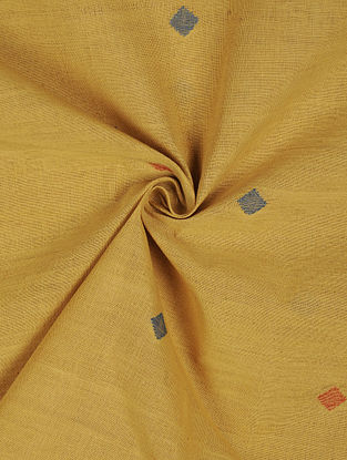 Yellow Handloom Handspun Natural Dyed  Jamdani Cotton Fabric