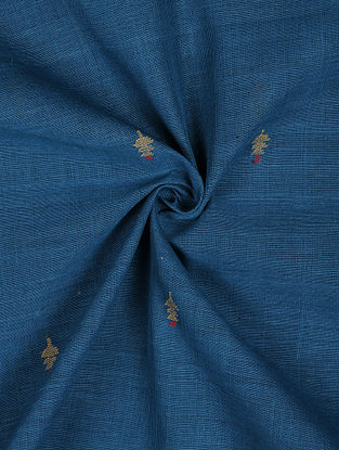 Blue Handloom Handspun Natural Dyed  Jamdani Cotton Fabric
