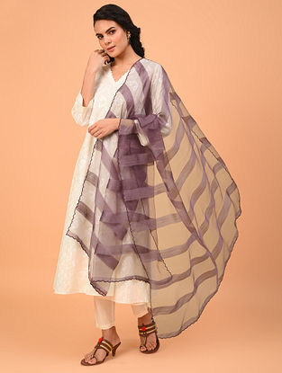 Purple Handwoven  Silk Cotton  Dupatta