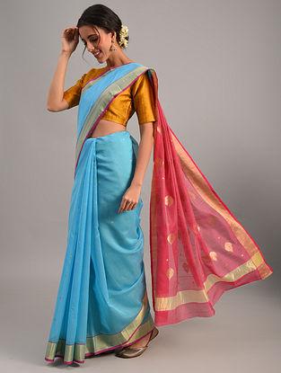 Blue Handloom Chanderi Cotton Silk Saree