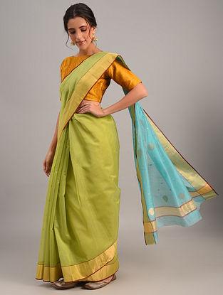 Green Handloom Chanderi Cotton Silk Saree