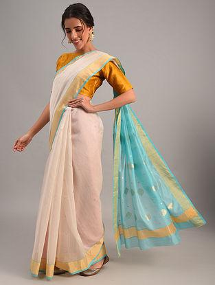 White Handloom Chanderi Cotton Silk Saree