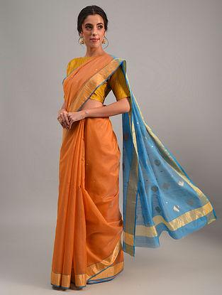 Orange Handloom Chanderi Cotton Silk Saree