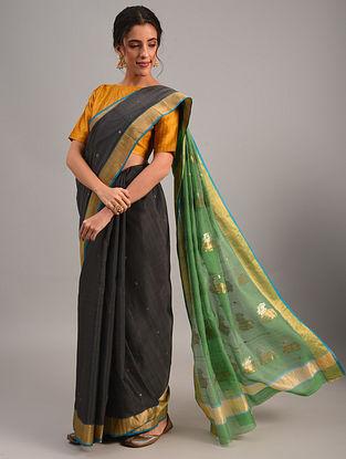 Black Handloom Chanderi Cotton Silk Saree