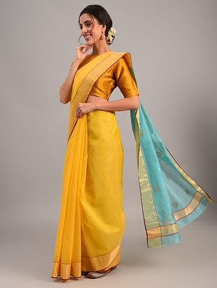 Yellow Handloom Chanderi Cotton Silk Saree