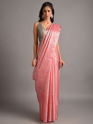 Pink Handwoven  Tussar Silk  Saree
