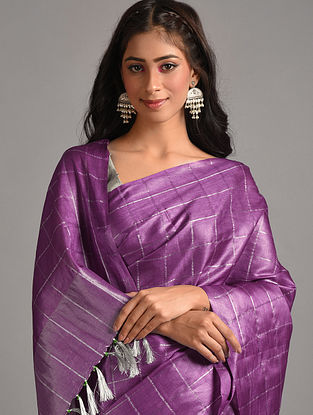 Purple Handwoven  Tussar Silk  Saree