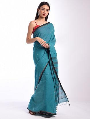 Blue Jamdani  Handloom Cotton Saree
