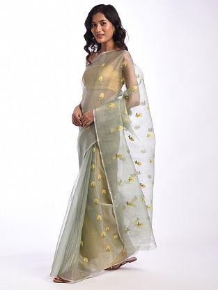 Grey Handwoven  Chanderi Cotton Silk Saree
