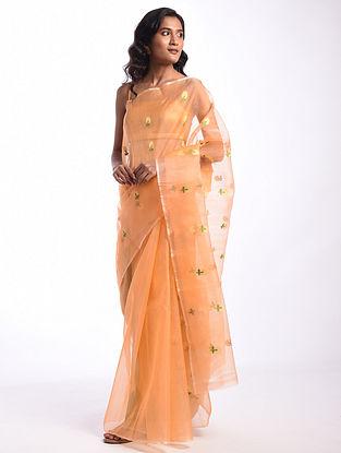 Orange Handwoven  Chanderi Cotton Silk Saree